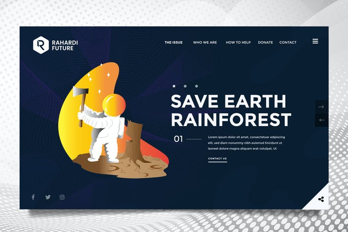 Thumbnail for Global Warming Web Header PSD & Vector Template 3