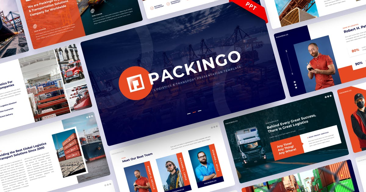 Download Packingo - Logistics & Transport PowerPoint by yossy1