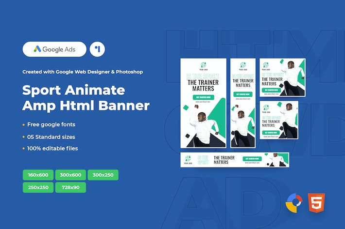 Thumbnail for Sport Animate Ads Template AMP HTML Banners