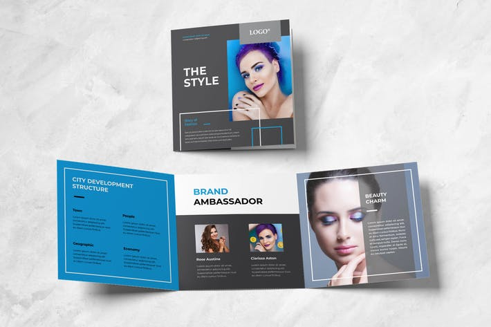 Thumbnail for Beauty Fashion Square Trifold Brochure