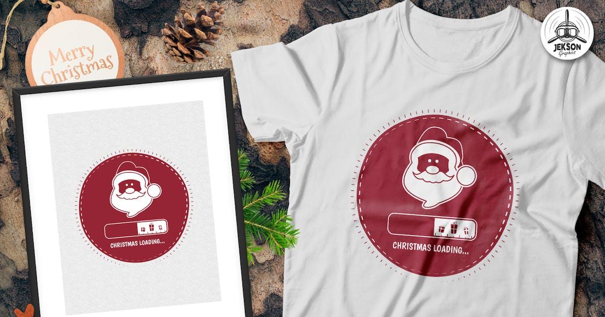 Download Christmas Loading Santa T-Shirt, Xmas Retro Tee by JeksonJS