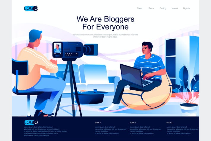 Thumbnail for Bloggers Isometric Landing Page Template