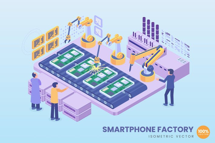 Thumbnail for Isometric Smartphone Factory Concept
