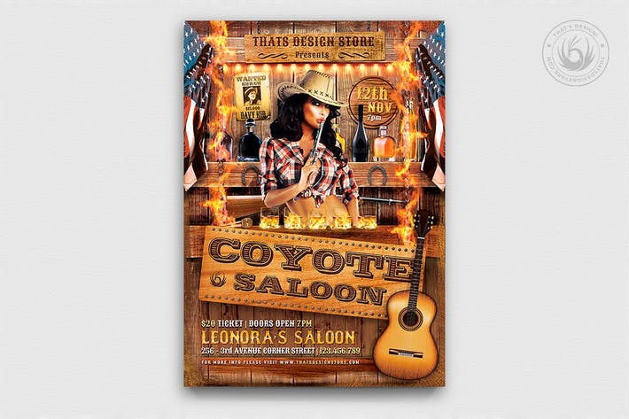 Thumbnail for Coyote Bar Flyer Template