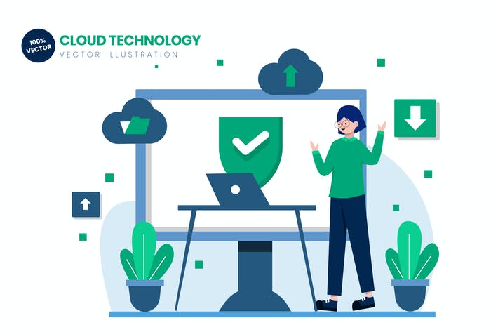 Thumbnail for Cloud Technology Flat Vector Illustration
