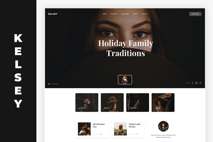 Thumbnail for Kelsey - Blog PSD Template