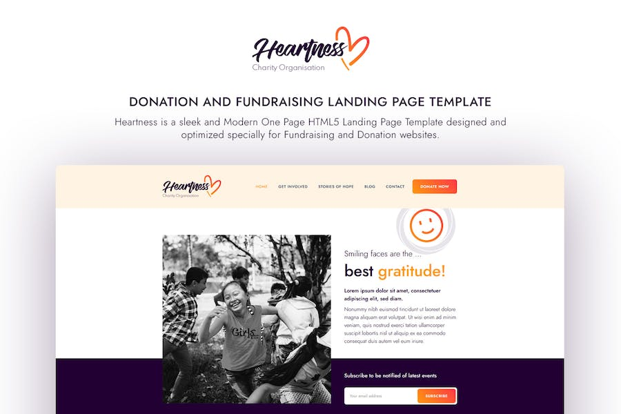 Heartness - Fundraising / Donation Landing Page  - product preview 1