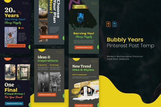 Bubbly Years   Pinterest Post Template