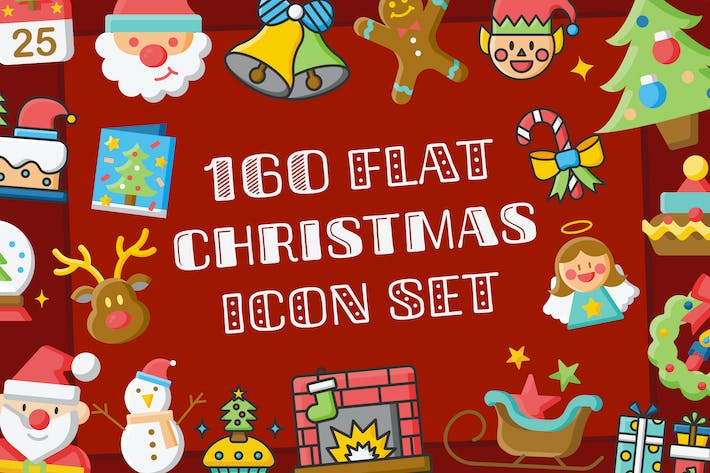 Cover Image For 160 Christmas Flat Icons Set
