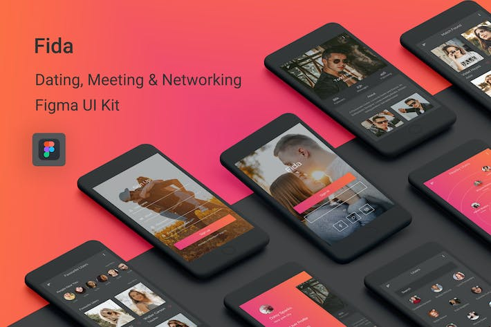Thumbnail for Fida - Dating, Meeting & Networking Figma App