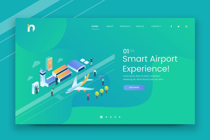Thumbnail for Изометрический Smart Airport Web PSD и Вектор температура AI