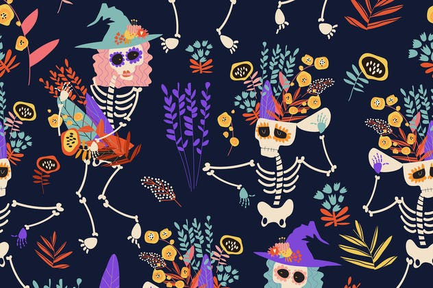 Vector seamless pattern with skeletons and flowers