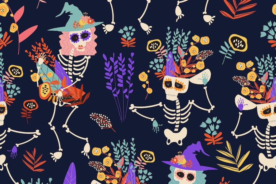 Vektor nahtloses Muster mit Skeletten und Blumen