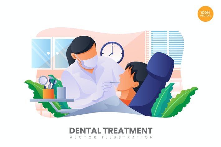 Thumbnail for Dental Treatment Vector Illustration Concept