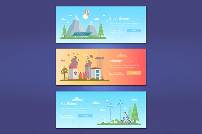 Thumbnail for Green energy - set of flat design style banners