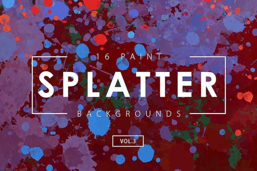 16 Paint Splatter Backgrounds Vol. 3