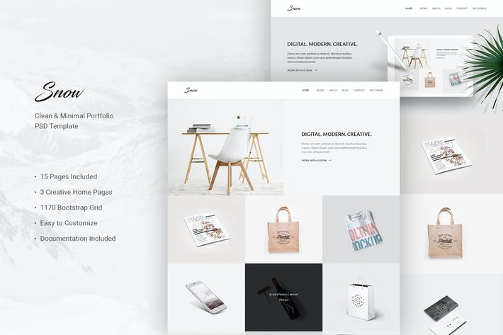 Thumbnail for Snow - Minimal & Clean PSD Template