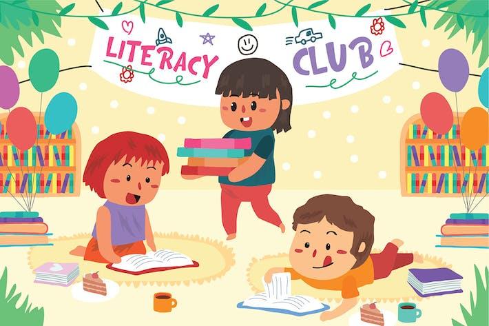 Literacy Club - Vector Illustration