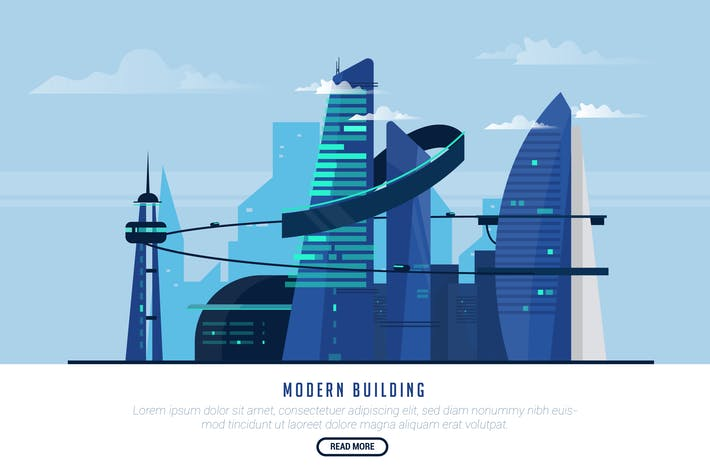 Thumbnail for Modern Building - Vector Landscape & Building