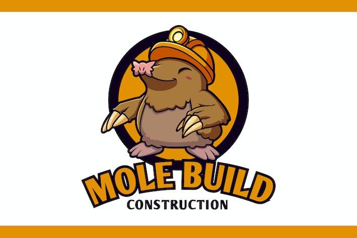 Thumbnail for Cartoon Mole Builder Mascot Logo