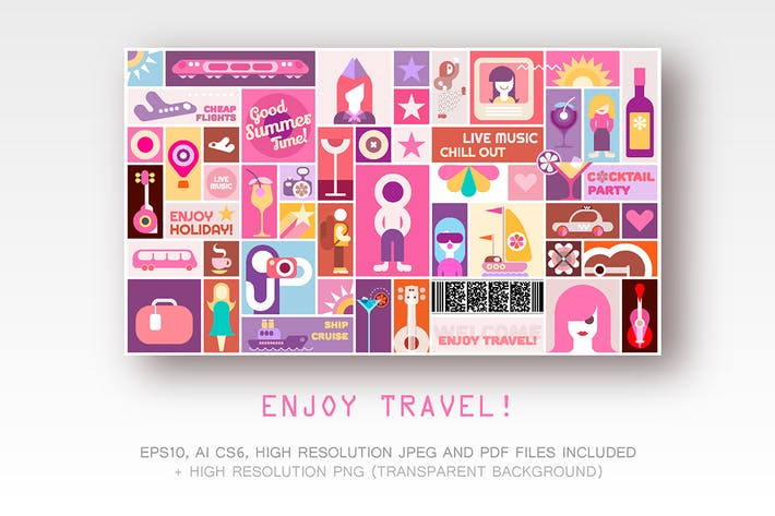 Thumbnail for Enjoy Travel vector poster design