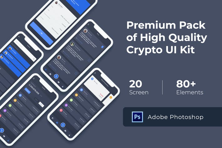 Thumbnail for Crypto Mobile UI KIT for Photoshop