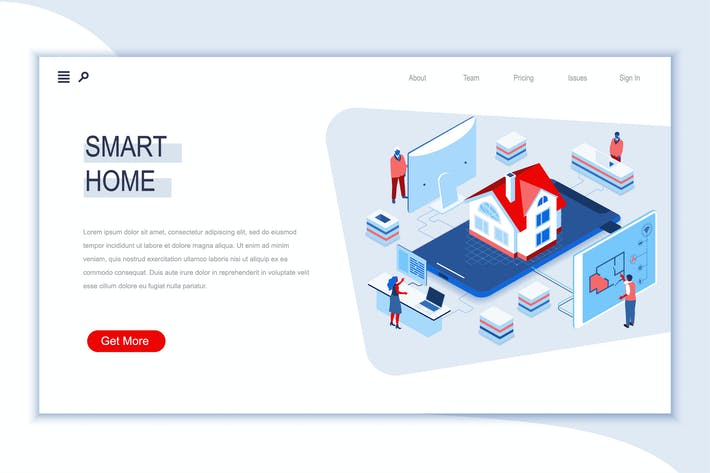 Smart Home Isometric Banner Flat Concept