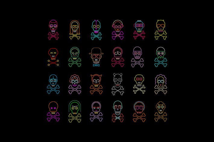 Thumbnail for Large set of Skull and Crossbones Vector Icons