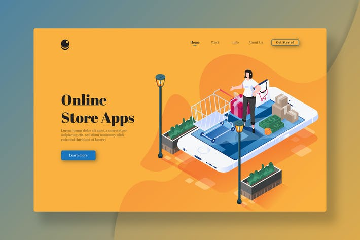 Thumbnail for Online Store Apps - Isometric Landing Page