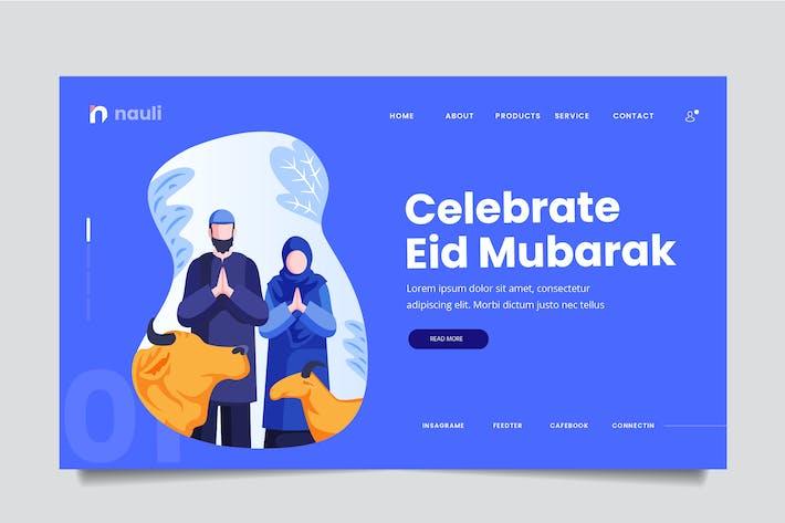 Thumbnail for Eid Mubarak Web Header PSD and AI Vector