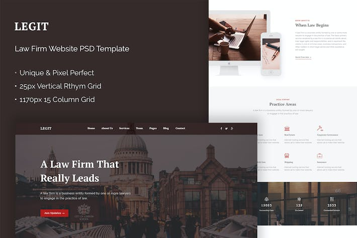 Thumbnail for Legit - Law Firm Website PSD Theme