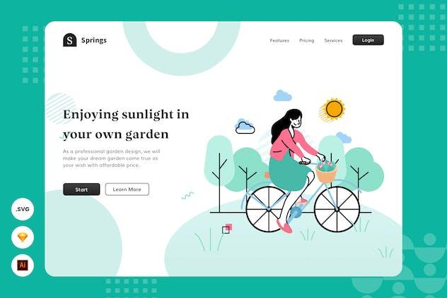 Enjoying Sunlight - Website Header - Illustration