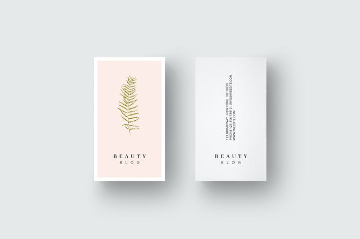 Thumbnail for Business card template with golden leaf