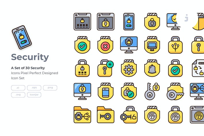 30 Security Icon set - Detailed Round line