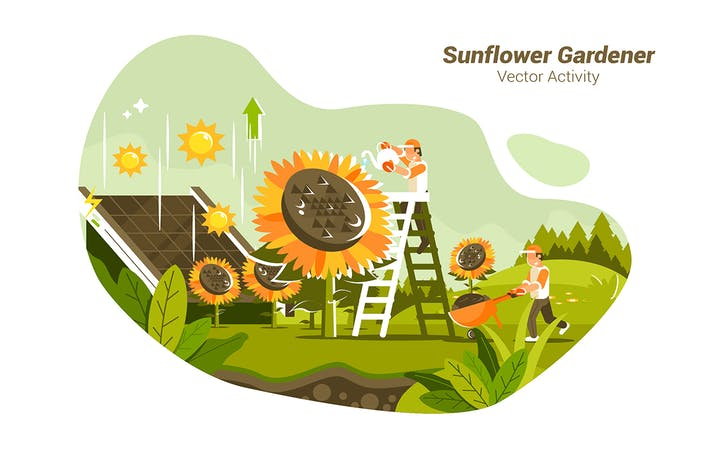 Thumbnail for Sunflower Gardener - Vector Illustration