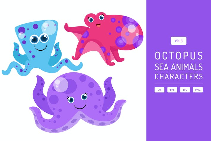 Thumbnail for Cute Octopus - Sea Animals Characters Vol.3