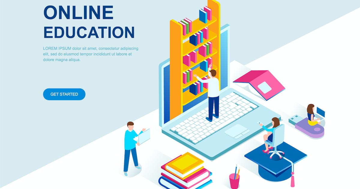 Download Online Education Isometric Landing Page Template by alexdndz