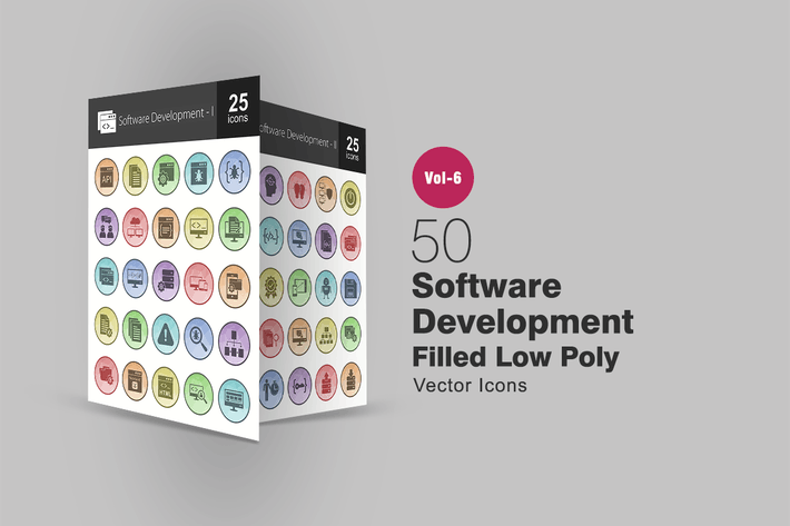Thumbnail for 50 Software Development Filled Low Poly Icons