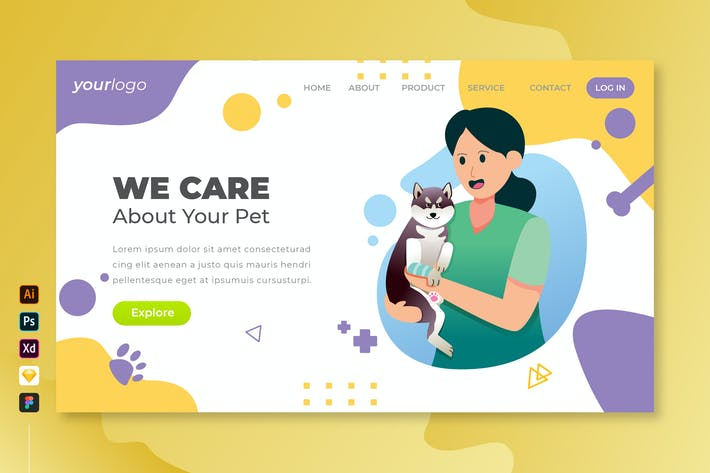 Thumbnail for We Care Your Pet - Vector Landing Page Vol.5
