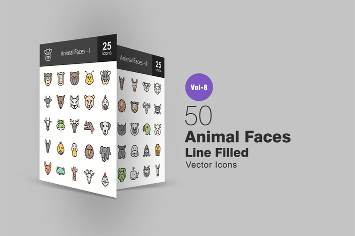 Thumbnail for 50 Animal Faces Line Filled Icons