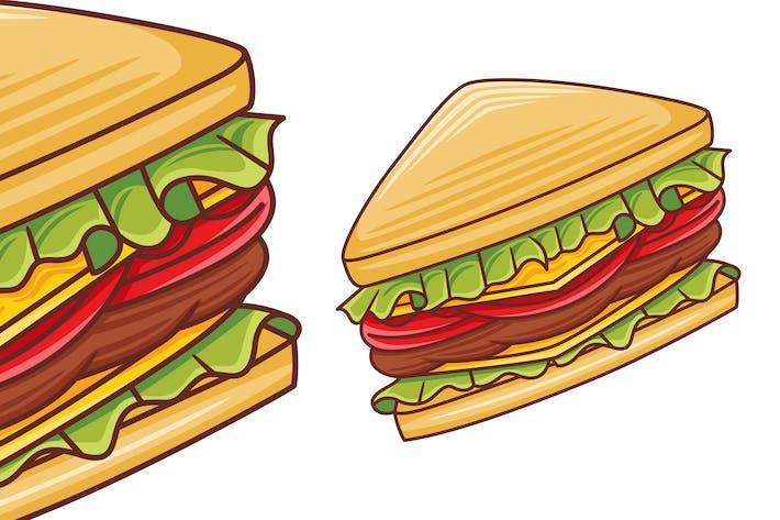 Sandwich-Vektor im flachen Design-Stil