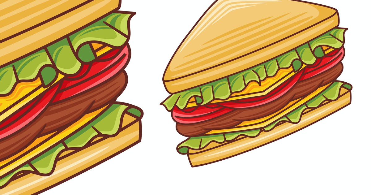 Download Sandwich Vector in Flat Design Style by medzcreative
