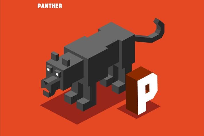 Thumbnail for P for panther. Animal Alphabet collection. vector