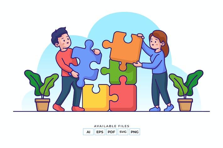 Teamwork Puzzle Illustration