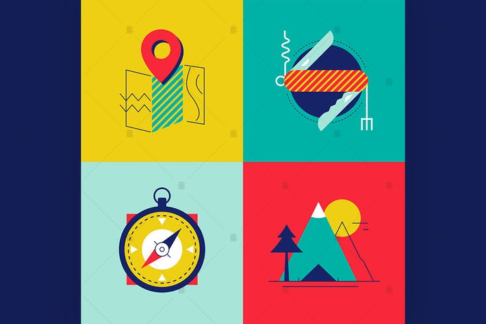 Thumbnail for Tourism and camping - flat design style elements