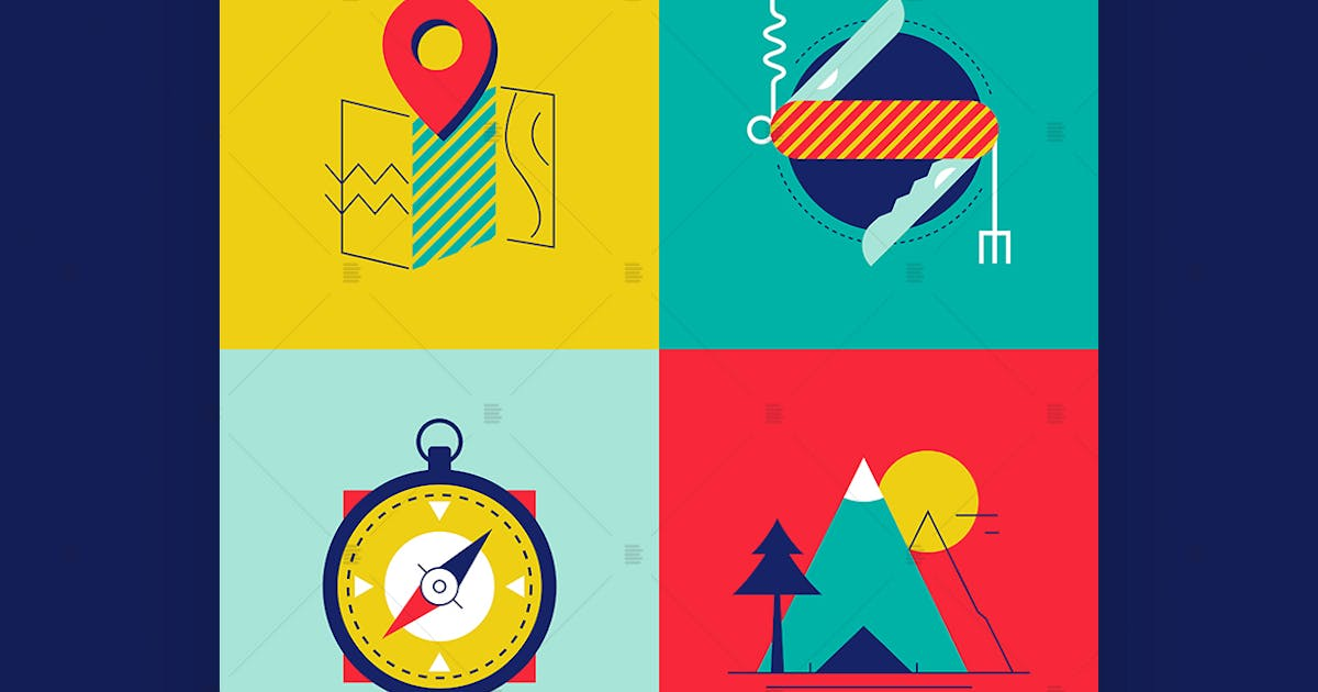 Download Tourism and camping - flat design style elements by BoykoPictures
