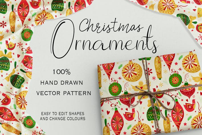 Thumbnail for Christmas Ornaments Seamless Pattern