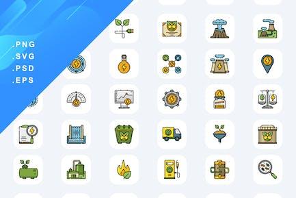 50 Renewable Energy Icons