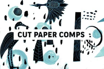 Schneiden Sie Papierkompositionen