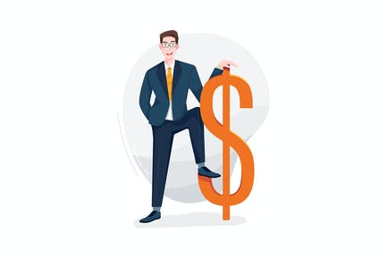 Businessman stands next to the currency symbol
